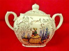 Vintage China Sadler Sugar Bowl Crinoline Lady Garden Dolly Varden Chintz OFFER | eBay