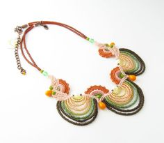 Statement Necklace Orange and green with pink and brown, beadwork, handmade Macrame jewelry, holiday gift on Etsy, $230.00