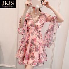 리틀 쉬폰 드레스 새로운 여성 여름 2017 새로운 도착 얇은 혼 소매 꽃 무늬 스커트 요정 우아한 해변