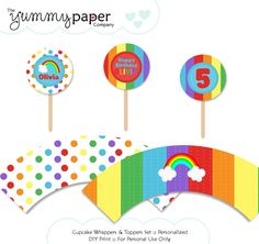 Rainbow Party - Cupcake Wrappers and Toppers Set ... Custom DIY Party Printables rp01. $6.00, via Etsy.