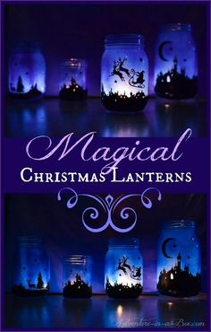 Christmas Crafts : Illustration Description Magical Christmas Lanterns: DIY tutorial on how to turn Mason jars into lamps and create a simple Christmas Christmas Lamp, Christmas Mason Jars, Christmas Lanterns, Magical Christmas, Noel Christmas, Simple Christmas, Winter Christmas, Christmas Decorations, Lantern Decorations