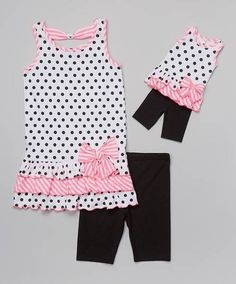 Another great find on White & Black Polka Dot Tunic Set & Doll Outfit - Toddler & Girls by Dollie & Me Fashion Kids, Toddler Fashion, Toddler Outfits, Kids Outfits, Toddler Girl Style, Toddler Girls, Ag Doll Clothes, Little Girl Dresses, Baby Dress