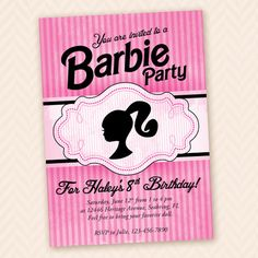 Girls Barbie Birthday Party Invitation