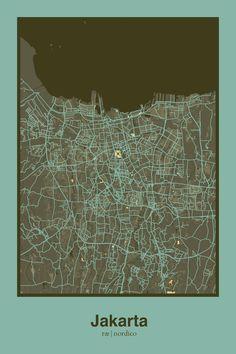 Jakarta, Indonesia Map Print