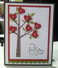 Stampin' Up! #Stamp Set and #heart punch. This is so sweet and would be quite #easy to do!