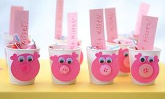 """""""hogs"""" and kisses - little cups with hog faces & pink kisses with tag - how cute!"""