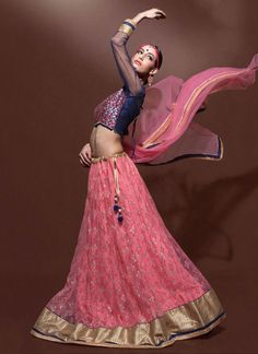 Light Pink & Indigo Blue Jaipuri Silk & Net Lehenga Choli ,Indian Dresses - 1