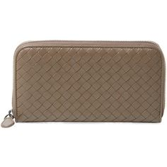 Bottega Veneta Women's Intrecciato Nappa Zip Around Wallet - Brown ($599) ❤ liked on Polyvore featuring bags, wallets, brown, woven leather bag, bottega veneta wallet, pocket wallet, long bags and pocket bag
