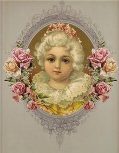 vintage ephemera, Rose girl