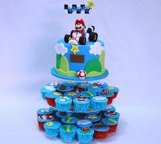 Samuel's Mario Kart cake and Cupcakes