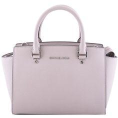 Michael Kors Selma Tote ($300) ❤ liked on Polyvore featuring bags, handbags, tote bags, tortora, pink tote handbags, tote purses, pink tote purse, tote hand bags and handbags totes
