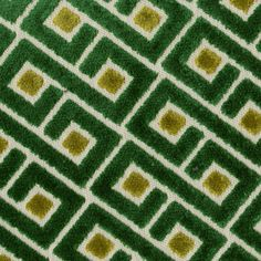 This is a green and gold cut chenille greek key design upholstery fabric by Richloom, suitable for any decor in the home or office.  Perfect for pillows and furniture.