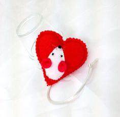 Catnip Valentine Heart with mouse catnip toy catnip by MauveMoose, $6.00