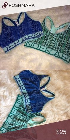 Underarmour sports bra bundle 2 Bras for the price of 1 🙀🙀 size small. NWOT. Perfect condition. Blue and green both reversible as well!! Under Armour Intimates & Sleepwear Bras