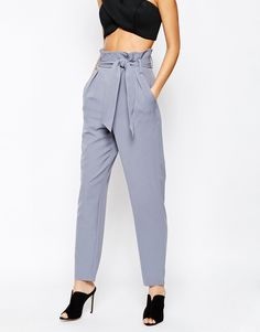 Image 4 of Lavish Alice Paper Bag Peg Trouser with Belt