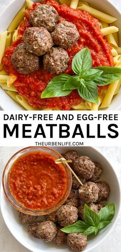 Dairy Free and Egg Free Oven Baked Meatballs! Perfect for a healthy weeknight dinner, cooking in 30 minutes. Stovetop option for skillet meatballs Meatball Recipes, Meat Recipes, Healthy Recipes, Delicious Recipes, Amazing Recipes, Healthy Food, Best Dinner Recipes, Popular Recipes, Lunch Recipes