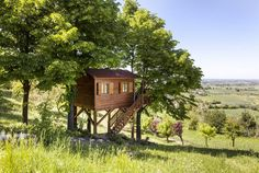 A tree house hideout in the northern Italian hillside sounds like the perfect vacation. There's a swimming pool right on the property, so we suggest visiting during the warmer months when you can enjoy the sun. And wine tours through the gorgeous vineyards are always an option in Montferrat, rain or shine (but you should double-check before booking any tours).