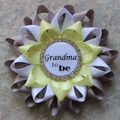 Gray and Yellow Baby Shower Decorations Grandma to be Pin...