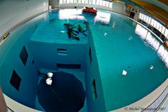 Swim in the deepest pool in the world - Nemo 33, Brussels, Belgium. Total depth of 108ft.