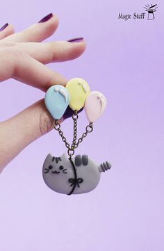 Birthday gift Balloon brooch Pusheen brooch Gift for friends Party pusheen Animal brooch Cat lover gift Gray cat Funny brooch Gift for kids WELCOME! Find all my Funny brooches here: http://etsy.me/2gNEsVT Up for sell funny Pusheen with heart brooch made of polymer clay (: Cute