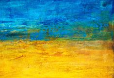 Golden Horizon Regular Price: $355 Early Black Friday Blowout Sale price: $250 36 x 24 Deep 1 1/2 canvas, sides are painted black, staple free, ready to hang. This beautiful painting has been done in acrylic ink and acrylic paint in shades of cobalt blue, sky blue, yellow, and