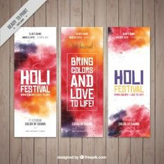 Abstract Holi Festival banners