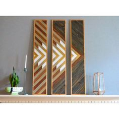 Wall Hangings by Sweet Home Wiscago seen at Roscoe Village / Lakeview, Chicago - 3 Panel Wood Art Wooden Wall Art, Diy Wall Art, Wooden Walls, 3 Panel Wall Art, Reclaimed Wood Art, Creation Deco, Pallet Art, Geometric Wall, Picture On Wood