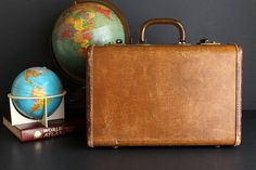 Vintage Suitcase Leather Trim Small Sized Suiter Samsonite