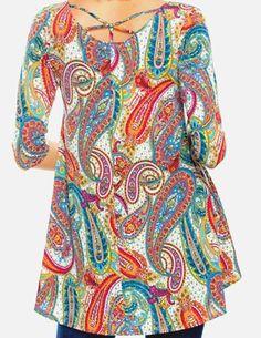 807e9082752 Womens plus size long paisley print 3/4 sleeve boho tunic t top blouse 1x  2x 3x