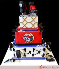 Hockey Themed Bar Mitzvah Cake by Pink Cake Box in Denville, NJ. Hockey Birthday Cake, Hockey Birthday Parties, Hockey Party, 11th Birthday, Birthday Ideas, Cake Bars, Bar Mitzvah, Pastries Images, Theme Sport
