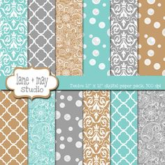 tiffany blue, beige and silver digital scrapbook papers, by lane + may on etsy, $7.00