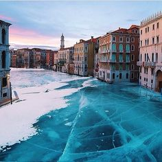 Frozen Venice - Claim: Recent freezing weather in Venice, Italy created this scene of a frozen canal. Reality: The image is a composite created by Robert Johns. He took ice from a photo of Lake Baikal and inserted it into a photo of Venice. He's done a series of these frozen Venice images, intending them as art. But people on social media mistook them for actual photos.