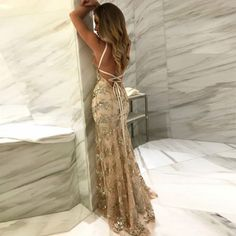 Mermaid Spaghetti Straps Light Champagne Prom Dress with Appliques
