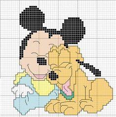 ♥ Korsstygns-Arkivet ♥: BABY-DISNEY-KORSSTYGNSMÖNSTER#  Baby Mickey & Pluto