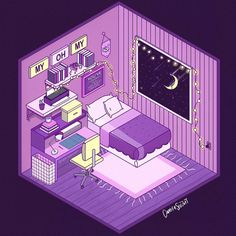Cute Pastel Wallpaper, Aesthetic Pastel Wallpaper, Cute Wallpaper Backgrounds, Isometric Sketch, Isometric Art, Isometric Drawing Exercises, Bedroom Drawing, Dark Purple Aesthetic, Different Art Styles