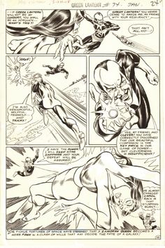 GREEN LANTERN # 74 (1970, GIL KANE) GREEN LANTERN VS. SINESTRO & STAR SAPPHIRE - MURPHY ANDERSON INKS.