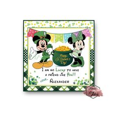 Mickey and Minnie Happy St. Patrick's Day Printable Tag-Funny St Patrick's Day-D.Y Tags-You Print-St. Printable Tags, Printables, St. Patrick's Day Diy, Sticker Paper, Stickers, Happy St Patricks Day, Personalized Tags, Card Stock, Size 2