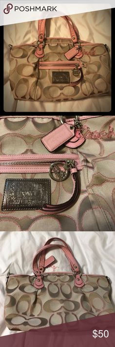 Coach Poppy Purse Previously loved, this adorable bag still has a lot of years left! The exterior is in near perfect condition with the exception of the straps. There are 2 small tears in the leather of one strap & the cloth of both straps shows some usage from being carried (PLEASE SEE PHOTOS!). The interior lining has 4 stains near the zipper closure (AGAIN, see pics). Coach Bags Shoulder Bags