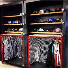 going to be my new summer project. I have two closets so im sooo gonna do this & brianna Cool Hockey& The post Cool Hockey Closet deff. going to be my new summer project. I have two closets & appeared first on Rees Home Decor. Hockey Man Cave, Ice Hockey, Hockey Mom, Field Hockey, Closet Bedroom, Kids Bedroom, Boys Hockey Bedroom, Boy Bedrooms, Hockey Decor