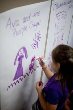 Acting out Harold and the Purple Crayon in real life is easy! Give each child a purple crayon (or marker) and their own piece of chart paper. We doing this at EPS, but your child might like to do it at home too! Preschool Colors, Preschool Literacy, Kindergarten Writing, Preschool Crafts, Teach Preschool, Classroom Crafts, Classroom Fun, Art For Kids, Crafts For Kids