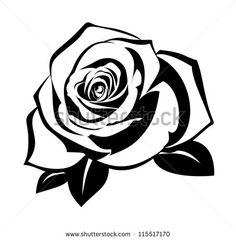 schwarze Silhouette einer Rose mit Blättern. Vektor-Illustration.