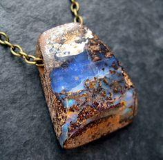 Natural Blue Violet Boulder Opal Pendant