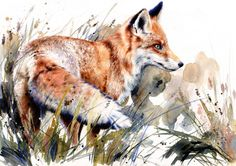 "Saatchi Online Artist Lucy Newton; Mixed Media, ""Turning Fox"" #art"