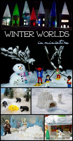 Winter is coming, andit is a time when sensory bins and small worlds turn white too. Little people and animals are also eagerto skate, throwsnowballs and build snowmen. Here is a collection of our favourite ideas on how to bring winter in the playroom!
