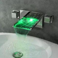 Répandue Wall Mount Cascade 3 couleurs LED de bain robinetterie de l évier  T8015  T8015  - €209.99   Salle de bain   Robinetterie mitigeur, robinet  lavabo 60ca0c600c90