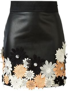 Embroidered A Line Leather Mini Skirt