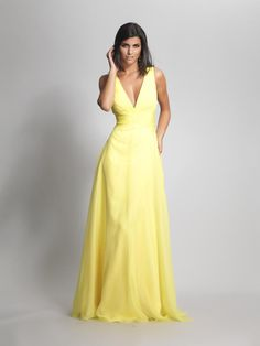 Yellow Simple Bridesmaid Dresses A Line V Neck Sweep Train Chiffon Evening Gowns Prom Dress Yellow Bridesmaid Dresses, V Neck Prom Dresses, A Line Prom Dresses, Prom Dresses Online, Dresses For Teens, Sexy Dresses, Evening Dresses, Formal Dresses, Long Dresses