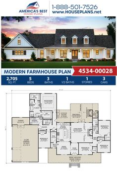 Modern Farmhouse Plan - Giving you sq., Plan delivers 5 bedrooms, bathrooms, an open floor plan, a - 5 Bedroom House Plans, Basement House Plans, Ranch House Plans, Best House Plans, Dream House Plans, Modern House Plans, Dream Houses, House Plans With Pool, House Design Plans