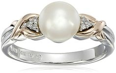 Sterling Silver and 14k Pink Gold Freshwater Cultured Pearl 7 mm and Diamond Ring 003 cttw IJ Color I3 Clarity ** Find out more about the great product at the image link.