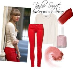 """Taylor Swift Inspired Outfit"" by ohshizitstiff ❤ liked on Polyvore-She always wears that bold red color, not only on her lips but with her clothes too.  I want to try that."